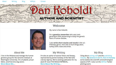 author website landing page