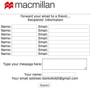 Tor e-mail forward form