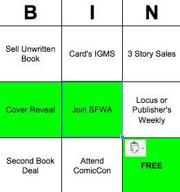 pro writer bingo card