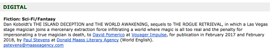 Book Deal on Publishers Marketplace