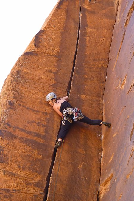 Author crack climbing