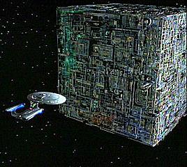 Borg cube spaceship