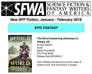 SFWA new release newsletter