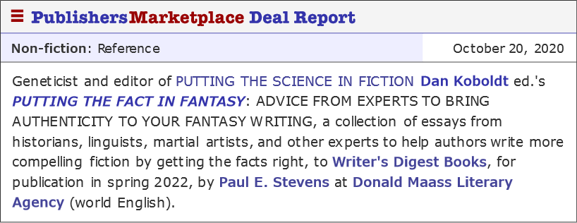 Putting the Fact in Fantasy Sold to Penguin Random House